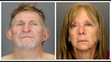 FILE - These undated file booking photos provided by the Tucson Police Department show 56-year-old Blake Barksdale, left, and his 59-year-old wife Susan Barksdale. Authorities say the husband and wife fugitives on the run for over two weeks in the killing of an Arizona man have been captured. The U.S. Marshals Service announced Wednesday, Sept. 11, 2019 that 56-year-old Blane Barksdale and 59-year-old Susan Barksdale are in custody. (Tucson Police Department via AP, File)