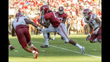 Alabama wide receiver Jerry Jeudy (4) runs a pass reception win for a 19-yard touchdown against New Mexico State during the second half of an NCAA college football game Saturday, Sept. 7, 2019, in Tuscaloosa, Ala. (AP Photo/Vasha Hunt)