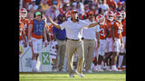 Clemson head coach Dabo Swinney reacts to a call during the second half of an NCAA college football game against Texas A&M Saturday, Sept. 7, 2019, in Clemson, S.C. (AP Photo/Richard Shiro)