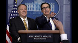 Secretary of State Mike Pompeo and Treasury Secretary Steve Mnuchin take questions during a briefing on terrorism financing at the White House, Tuesday, Sept. 10, 2019, in Washington. (AP Photo/Evan Vucci)