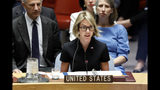 New U.S. Ambassador Kelly Craft addresses her first Security Council meeting, at United Nations headquarters, Thursday, Sept. 12, 2019. (AP Photo/Richard Drew)