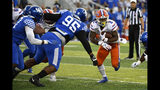 Florida running back Lamical Perine (2) runs through an opening in the Kentucky line as Kentucky nose tackle Quinton Bohanna (95) closes in during the first half of an NCAA college football game in Lexington, Ky., Saturday, Sept. 14, 2019. (AP Photo/Timothy D. Easley)