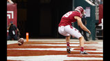 Temple punter Adam Barry (49) is unable to make handle the snap as the ball goes past him for a safety during the first half of an NCAA college football against Maryland, Saturday, Sept. 14, 2019, in Philadelphia. (AP Photo/Chris Szagola)