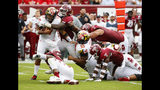 Temple defensive tackle Ifeanyi Maijeh (88) sacks Maryland quarterback Josh Jackson (17) during the first half of an NCAA college football, Saturday, Sept. 14, 2019, in Philadelphia. (AP Photo/Chris Szagola)
