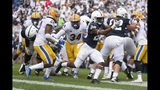 Penn State running back Devyn Ford (28) scores a touchdown in the first quarter of an NCAA college football game against Pittsburgh in State College, Pa., Saturday, Sept. 14, 2019. (AP Photo/Barry Reeger)
