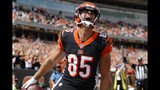 Cincinnati Bengals tight end Tyler Eifert (85) celebrates his touchdown during the first half an NFL football game against the San Francisco 49ers, Sunday, Sept. 15, 2019, in Cincinnati. (AP Photo/Frank Victores)