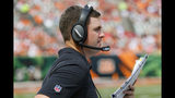 Cincinnati Bengals head coach Zac Taylor works the sidelines during the second half an NFL football game against the San Francisco 49ers, Sunday, Sept. 15, 2019, in Cincinnati. (AP Photo/Frank Victores)