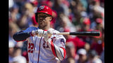Washington Nationals' Juan Soto watches a foul ball bounce during the third inning of a baseball game against the Atlanta Braves in Washington, Sunday, Sept. 15, 2019. (AP Photo/Manuel Balce Ceneta)