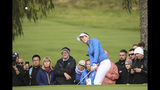 Georgia Hall of Europe plays from the edge of the green on the 6th hole during the Sunday Singles match against the US in the Solheim cup at Gleneagles, Auchterarder, Scotland, Sunday, Sept. 15, 2019. (AP Photo/Peter Morrison)