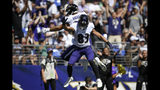 Baltimore Ravens tight end Mark Andrews, left, celebrates his touchdown with teammate Willie Snead in the first half of an NFL football game against the Arizona Cardinals, Sunday, Sept. 15, 2019, in Baltimore. (AP Photo/Nick Wass)