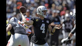 Oakland Raiders quarterback Derek Carr looks to throw the ball during the first half of an NFL football game against the Kansas City Chiefs Sunday, Sept. 15, 2019, in Oakland, Calif. (AP Photo/Ben Margot)