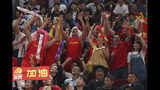 Spanish fans cheers during their FIBA Basketball World Cup Finalmatch against Argentina, at the Cadillac Arena in Beijing, Sunday, Sept. 15, 2019. (AP Photo/Ng Han Guan)