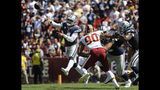 Dallas Cowboys quarterback Dak Prescott (4) throws a pass in the first half of an NFL football game against the Washington Redskins, Sunday, Sept. 15, 2019, in Landover, Md. (AP Photo/Evan Vucci)