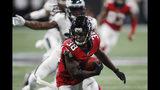 Atlanta Falcons running back Kenjon Barner (38) runs against the Philadelphia Eagles during the second half of an NFL football game, Sunday, Sept. 15, 2019, in Atlanta. (AP Photo/John Bazemore)