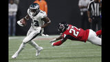 Philadelphia Eagles wide receiver Nelson Agholor (13) moves past Atlanta Falcons strong safety Damontae Kazee (27) during the second half of an NFL football game, Sunday, Sept. 15, 2019, in Atlanta. (AP Photo/John Bazemore)