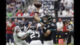 Jacksonville Jaguars quarterback Gardner Minshew (15) throws against the Houston Texans during the first half of an NFL football game Sunday, Sept. 15, 2019, in Houston. (AP Photo/David J. Phillip)