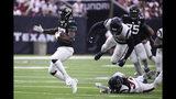 Jacksonville Jaguars running back Leonard Fournette (27) runs against the Houston Texans during the first half of an NFL football game Sunday, Sept. 15, 2019, in Houston. (AP Photo/Eric Christian Smith)
