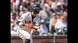 San Francisco Giants' Brandon Crawford hits a single against the Miami Marlins in the fourth inning of a baseball game in San Francisco, Sunday, Sept. 15, 2019. (AP Photo/John Hefti)