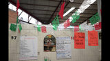 "In this Sept. 10, 2019 photo, a sign advertises in Spanish, ""Today, the traditional chile en nogada,"" at El Sabor, a family-owned restaurant inside the Juarez Market that for decades has been serving up chiles en nogada in the weeks leading up to Mexico's independence celebrations, in Mexico City. Although the 200 peso ($10.50) price tag at El Sabor is half that at high end restaurants, the traditional ingredients and hours of labor that go into making the sweet and salty dish mean it is still the priciest item on their menu, a seasonal treat for fans of the dish. (AP Photo/Rebecca Blackwell)"