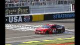 Daniel Suarez (41) drives during a NASCAR Cup Series auto race at Las Vegas Motor Speedway, Sunday, Sept. 15, 2019. (AP Photo/Chase Stevens)