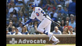 Chicago Cubs' Kris Bryant watches his three-run home run during the first inning of a baseball game against the Pittsburgh Pirates, Sunday, Sept. 15, 2019, in Chicago. (AP Photo/Paul Beaty)