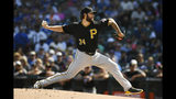 Pittsburgh Pirates starter Trevor Williams delivers a pitch during the first inning of a baseball game against the Chicago Cubs Sunday, Sept. 15, 2019, in Chicago. (AP Photo/Paul Beaty)