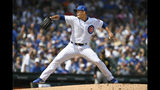 Chicago Cubs starter Jose Quintana delivers a pitch during the first inning of a baseball game against the Pittsburgh Pirates, Sunday, Sept. 15, 2019, in Chicago. (AP Photo/Paul Beaty)