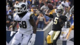 New Orleans Saints quarterback Teddy Bridgewater passes against the Los Angeles Rams during the first half of an NFL football game Sunday, Sept. 15, 2019, in Los Angeles. (AP Photo/Mark J. Terrill)