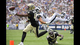 New Orleans Saints free safety Marcus Williams can't get a hand on a incomplete pass intended for Los Angeles Rams tight end Tyler Higbee (89) as Eli Apple, right, looks on during the first half of an NFL football game Sunday, Sept. 15, 2019, in Los Angeles. (AP Photo/Mark J. Terrill)