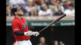 Cleveland Indians' Roberto Perez watches his three-run home run in the sixth inning in a baseball game against the Minnesota Twins, Sunday, Sept. 15, 2019, in Cleveland. (AP Photo/Tony Dejak)