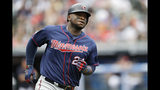 Minnesota Twins' Miguel Sano runs the bases after hitting a solo home run in the third inning in a baseball game against the Cleveland Indians, Sunday, Sept. 15, 2019, in Cleveland. (AP Photo/Tony Dejak)