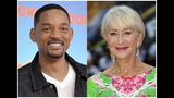 """This combination photo shows Will Smith at the Nickelodeon Kids' Choice Awards in Los Angeles on March 23, 2019, left, and Helen Mirren at a special screening of """"Fast & Furious: Hobbs & Shaw,"""" in London on July 23, 2019. Smith and Mirren will read a bedtime story during a one-night fundraising event to help fight global homelessness. They will each tell their story from different locations during the World's Big Sleep Out on Dec. 7. The campaign will encourage people in 50 cities globally to sleep outside for a night in hopes of raising $50 million for the charity. (AP Photo)"""