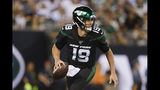 New York Jets quarterback Trevor Siemian (19) looks to pass during the first half of an NFL football game against the Cleveland Browns, Monday, Sept. 16, 2019, in East Rutherford, N.J. (AP Photo/Adam Hunger)