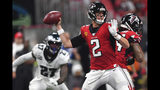 Atlanta Falcons quarterback Matt Ryan (2) throws in the pocket against the Philadelphia Eagles during the second half of an NFL football game, Sunday, Sept. 15, 2019, in Atlanta. (AP Photo/John Amis)