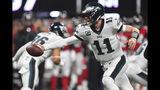 Philadelphia Eagles quarterback Carson Wentz (11) works in the pocket against the Atlanta Falcons during the first half of an NFL football game, Sunday, Sept. 15, 2019, in Atlanta. (AP Photo/John Amis)