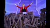 In this Sept. 7, 2019, photo, Democratic presidential candidate Sen. Elizabeth Warren, D-Mass., acknowledges the applause as she arrives on stage to speak at the New Hampshire state Democratic Party convention in Manchester, N.H. (AP Photo/Robert F. Bukaty)