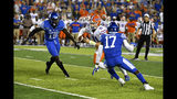Florida quarterback Kyle Trask (11) tries to avoid the defense of Kentucky linebacker Jordan Wright (15), and linebacker DeAndre Square (17) during the second half of an NCAA college football game in Lexington, Ky., Saturday, Sept. 14, 2019. Florida won 29-21. (AP Photo/Timothy D. Easley)