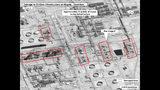 Esta imagen proporcionada el domingo 15 de septiembre de 2019 por el gobierno estadounidense y DigitalGlobe, con anotaciones realizadas por la fuente, muestra daños en la infraestructura de la planza saudí de procesamiento de crudo Abaqaiq de la compañía Aramco, en Buqyaq, Arabia Saudí. (Gobierno de EEUU/Digital Globe via AP)