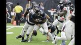 Jacksonville Jaguars quarterback Gardner Minshew (15) fumbles as he is hit by Houston Texans outside linebacker Whitney Mercilus (59) during the second half of an NFL football game Sunday, Sept. 15, 2019, in Houston. (AP Photo/David J. Phillip)