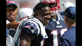 New England Patriots wide receiver Antonio Brown (17) smiles on the sidelines, during the second half at an NFL football game against the Miami Dolphins, Sunday, Sept. 15, 2019, in Miami Gardens, Fla. (AP Photo/Brynn Anderson)