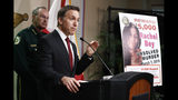 REMOVES AGE REFERENCE - Dave Aronberg, state attorney for Palm Beach County, Fla., speaks during a news conference on Monday, Sept. 16, 2019, in West Palm Beach, Fla. Palm Beach County Sheriff's officials said they arrested Robert Hayes for first degree murder in Rachel Bey's death. (AP Photo/Brynn Anderson)