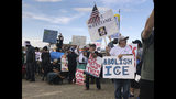 Several dozen protesters gather outside the Santa Ana Star Center arena ahead of President Donald Trump's rally in Rio Rancho, N.M., Monday, Sept. 16, 2019. Officials with Trump's campaign said they are working to win the support of more voters in the traditionally Democratic state ahead of the 2020 election. (AP Photo/Russell Contreras)