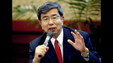 "FILE - In this Jan. 12, 2018, file photo, Asian Development Bank (ADB) President Takehiko Nakao gestures during a forum with foreign correspondents at the bank's headquarters in Manila, Philippines. The regional lender announced Nakao's plan to resign on Tuesday, Sept. 17, 2019. Japanese officials have usually headed the ADB, and Finance Minister Taro Aso said Tokyo would nominate a ""high-caliber candidate"" as Nakao's successor. (AP Photo/Bullit Marquez, File)"