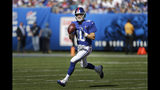 New York Giants quarterback Eli Manning looks to pass while under pressure during the second half of an NFL football game against the Buffalo Bills, Sunday, Sept. 15, 2019, in East Rutherford, N.J. (AP Photo/Adam Hunger)