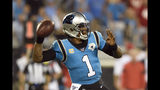 Carolina Panthers quarterback Cam Newton (1) passes against the Tampa Bay Buccaneers during the second half of an NFL football game in Charlotte, N.C., Thursday, Sept. 12, 2019. (AP Photo/Mike McCarn)