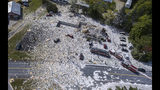 An aerial view of the devastation after an explosion at the Life Enrichment Advancing People (LEAP) building, in Farmington, Maine killed one firefighter and injured multiple other people, on Monday morning September 16, 2019. (Russ Dillingham/Sun Journal via AP)