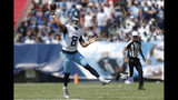 Tennessee Titans quarterback Marcus Mariota passes against the Indianapolis Colts in the first half of an NFL football game Sunday, Sept. 15, 2019, in Nashville, Tenn. (AP Photo/Wade Payne)