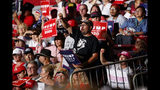 Supporters of President Donald Trump listen as he speaks during a campaign rally at the Santa Ana Star Center, Monday, Sept. 16, 2019, in Rio Rancho, N.M. (AP Photo/Evan Vucci)