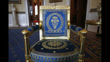 This Sept. 17, 2019, photo shows a restored chair in the Blue Room of the White House in Washington. The restoration was part of the improvement projects that first lady Melania Trump has overseen to keep the well-trod public rooms at 1600 Pennsylvania Avenue looking their museum-quality best. (AP Photo/Patrick Semansky)