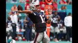 New England Patriots quarterback Tom Brady (12) looks to pass, during the second half at an NFL football game against the Miami Dolphins Sunday, Sept. 15, 2019, in Miami Gardens, Fla. (AP Photo/Wilfredo Lee)